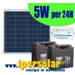 Alimentazione solare 24h - 5Watt con testa palo