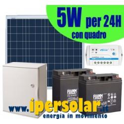 Alimentazione solare 24h 5Watt - 12V + quadro + testa palo