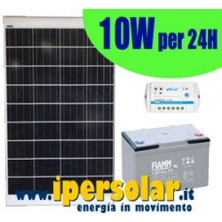 Alimentazione solare 24h - 10Watt 12V + supporto portabatterie