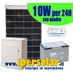 Alimentazione solare 24h - 10Watt 12V con quadro e testa palo