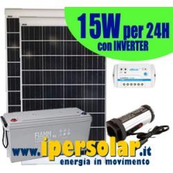 Alimentazione solare 24h -15Watt 12V con inverter 150W