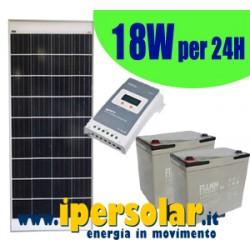 Kit alimentazione solare 24h - 18Watt/12V Autonomia 3 giorni