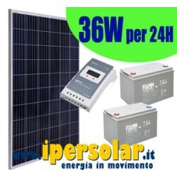 Kit alimentazione solare 24h 36Watt/24V - Autonomia 3 giorni