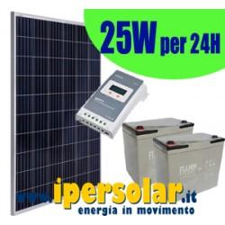 Kit alimentazione solare 24h 25Watt/24V - Autonomia 3 giorni