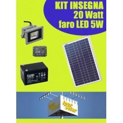 Kit solare ILLUMINAZIONE INSEGNA 20W con Faro LED 5W