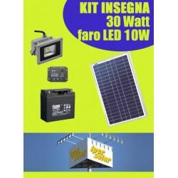 Kit solare ILLUMINAZIONE INSEGNA 30W con Faro LED 10W