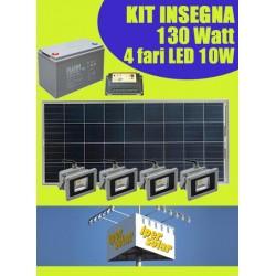 Kit solare ILLUMINAZIONE INSEGNA 140W con 4 Fari LED 10W