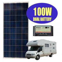 Kit solare camper 100W 12V con regolatore DUO doppia batteria