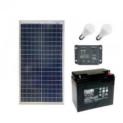 2 Punti luce con pannello fotovoltaico da 30W e batteria 18Ah