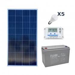 Kit fotovoltaico 150W per 5 punti luce con lampade LED 8W