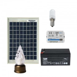 Kit Lampada votiva led 0,25W con pannello solare da 5W 12V