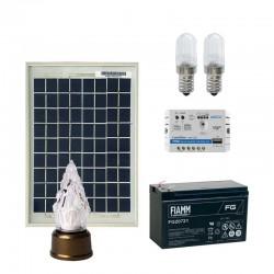 Kit n.2 Lampade votive led 0,25W con pannello solare da 5W 12V